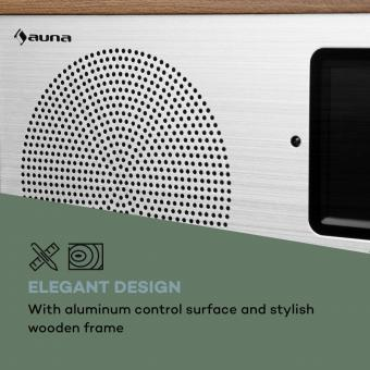 auna Silver Star Stereo Internet DAB+ UKW Radio /• Internet-Radio mit WLAN /• K/üchenradio /• Bluetooth /• 2 x 8 Watt RMS /• USB /• App-Steuerung /• AUX /• Weckfunktion /• inkl Fernbedienung /• Eiche