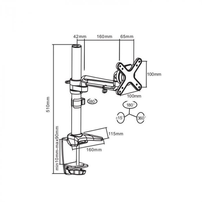 bras de fixation flexible table ecran lcd led moniteur. Black Bedroom Furniture Sets. Home Design Ideas