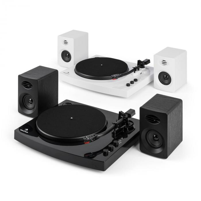 tt play platine disque vinyle 2 enceintes st r o 3 10w bluetooth blanc. Black Bedroom Furniture Sets. Home Design Ideas