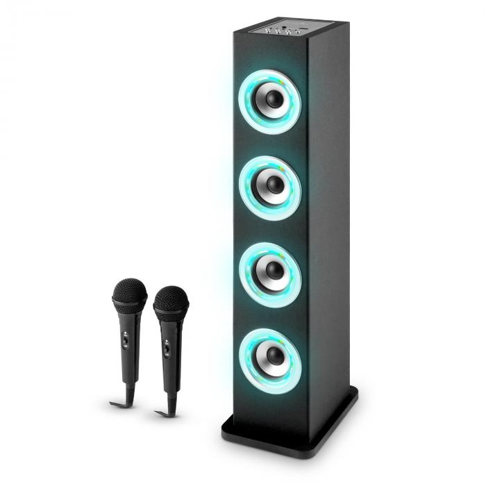 karaboom led bluetooth lautsprecher usb aux karaoke 2 x mikrofon schwarz online kaufen. Black Bedroom Furniture Sets. Home Design Ideas